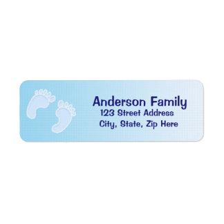 Etikett för adress för pojkefotspårblått returadress etikett