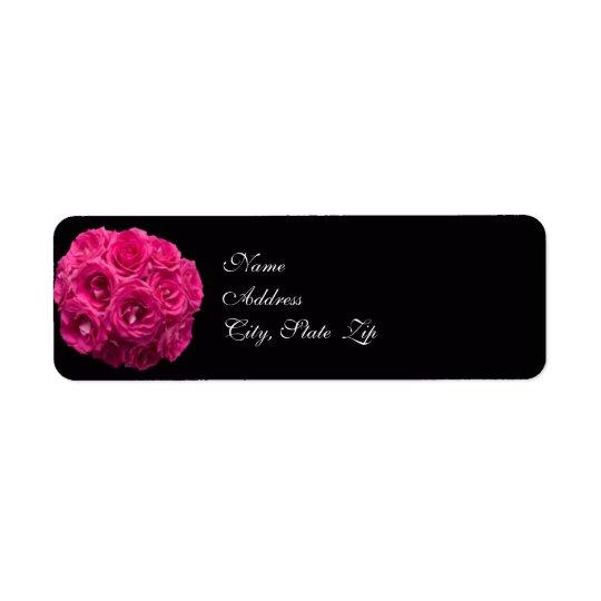 Etikett för adress för rosa rosbukettbröllop returadress etikett