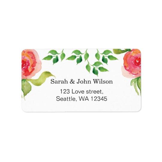 etikett för adress för rosa vattenfärg för korall adressetikett