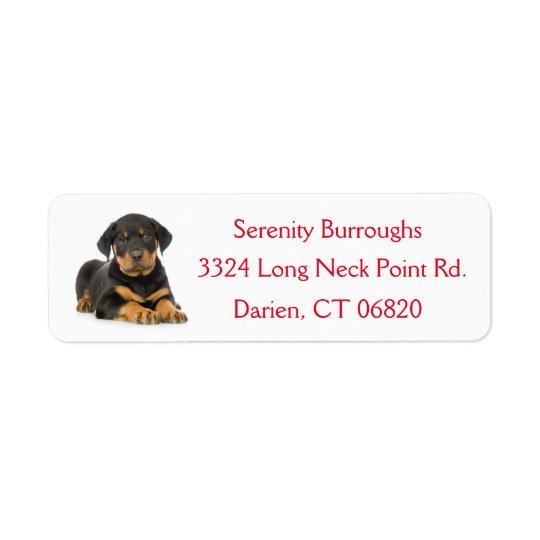 Etikett för adress för Rottweiler valphund röd Returadress Etikett