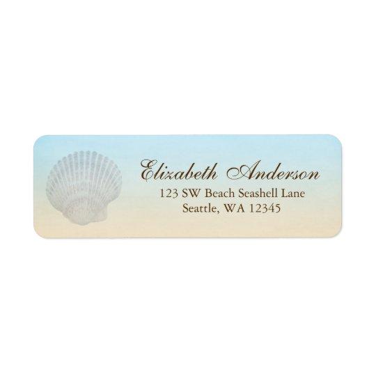 Etikett för adress för snäckskalstrandpersonlig returadress etikett