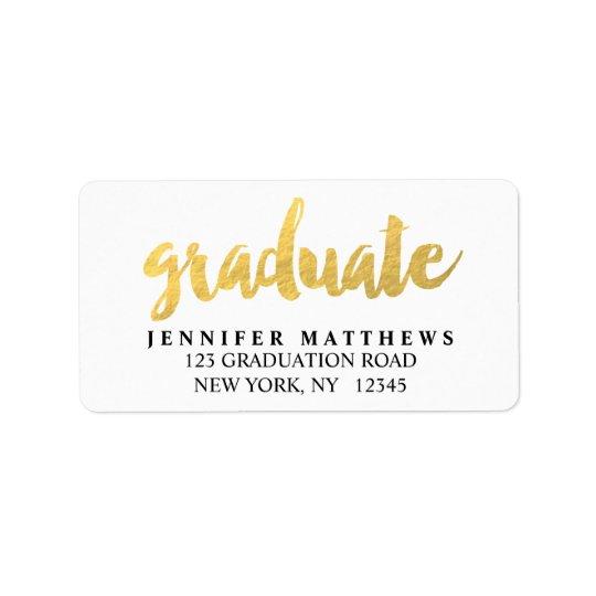 Etikett för adress för studenten för guldstudent | adressetikett