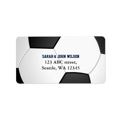 Etikett för adress för tema för sportpartyfotboll adressetikett