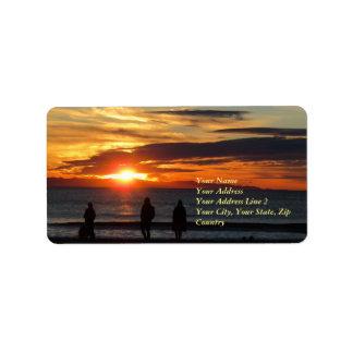 Etikett för adress för Ventura strandsolnedgång Adressetikett