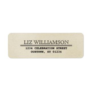 Etikett för adress för vintageTelegramstil Returadress Etikett