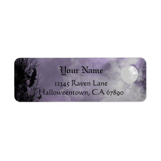 Etikett för adress Halloween för korpsvart Returadress Etikett