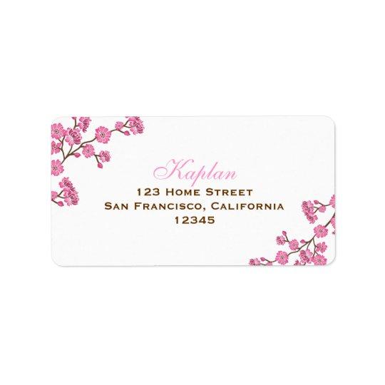 Etikett för Avital brun rosa blommaadress Adressetikett