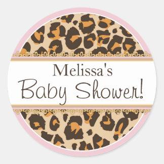 Etikett för baby shower för flickaCheetahtryck Runt Klistermärke