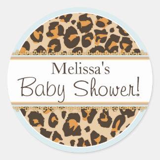 Etikett för baby shower för pojkeCheetahtryck Runt Klistermärke