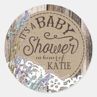 Etikett för baby shower för Wood lavendelsnöre Runt Klistermärke