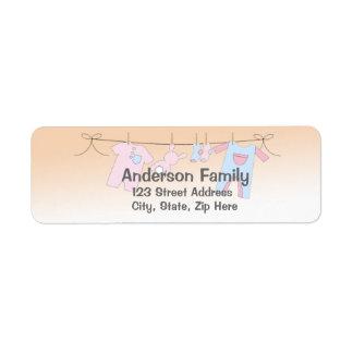Etikett för babyklädstreckadress returadress etikett