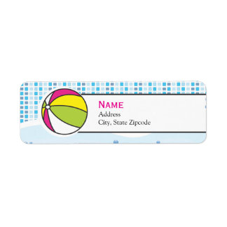 Etikett för bassängpartyreturadress - flicka returadress etikett