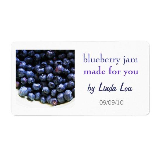 Etikett för blåbärsyltsylter fraktsedel