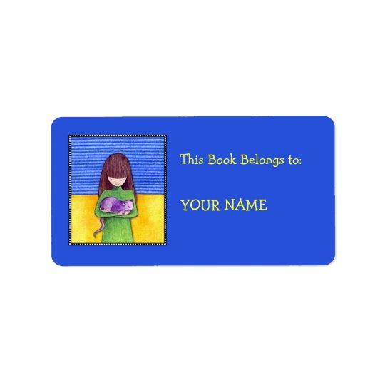 Etikett för bokägarmärke för kattomfamningblått adressetikett