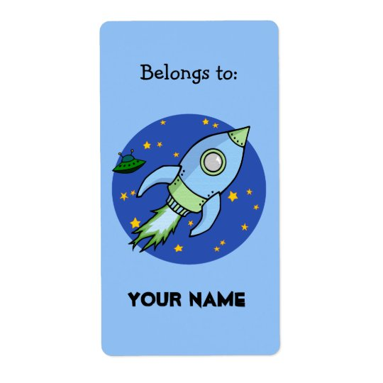 Etikett för bokägarmärke för raketblåttgrönt fraktsedel