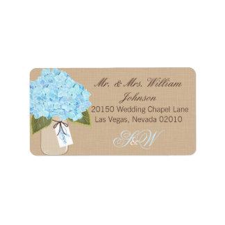 Etikett för bröllop för blåttvanlig adressetikett
