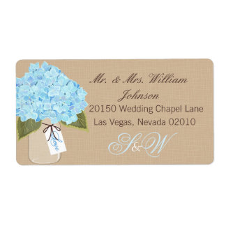 Etikett för bröllop för blåttvanlig fraktsedel