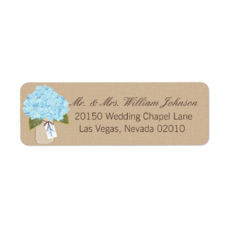 Etikett för bröllop för blåttvanlig returadress etikett