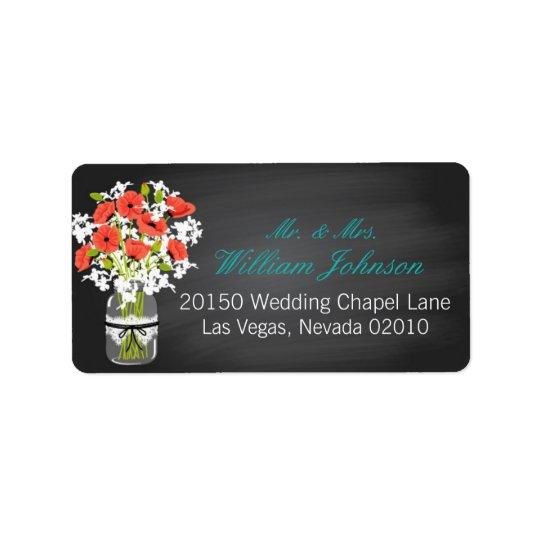 Etikett för bröllop för svart tavla för adressetikett