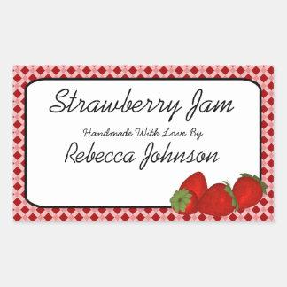 Etikett för burk för text för jordgubbesylt bestäl klistermärken