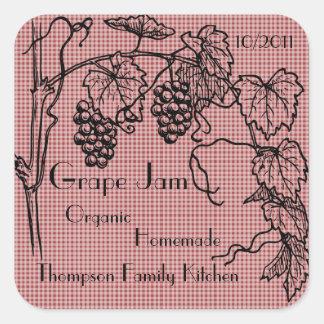 Etikett för druvasyltburk (skräddarsy), fyrkantigt klistermärke