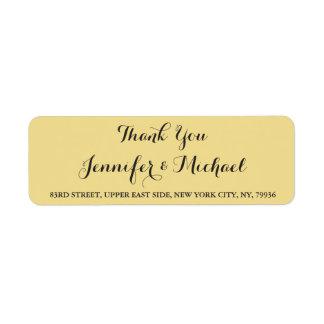 Etikett för elegant brölloptackreturadress returadress etikett