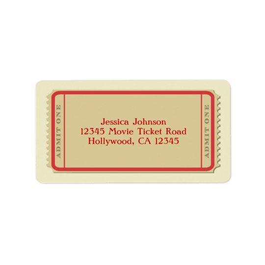 Etikett för filmbiljettbrevskickande adressetikett