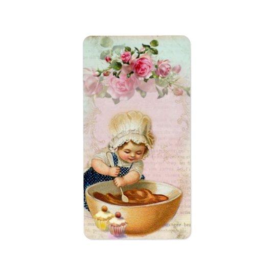 Etikett för gåva för vintagemuffinbagare #1 adressetikett
