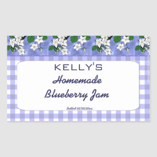 Etikett för gelé för sylt för blåbär för blåttging rektangelformade klistermärken