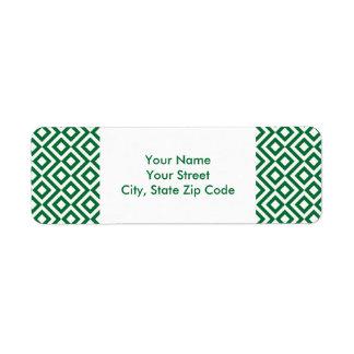 Etikett för grönt- och vitslingringarreturadress returadress etikett