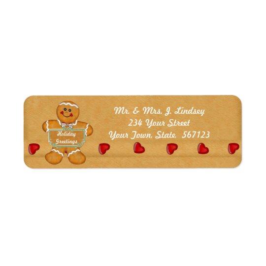 Etikett för helgdagpepparkakaadress returadress etikett