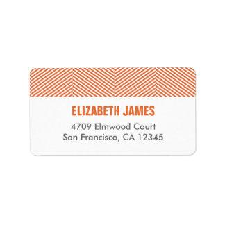 Etikett för Herringbonemönsterreturadress - orange Adressetikett