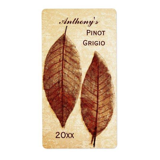 etikett för höst lövvinflaska fraktsedel