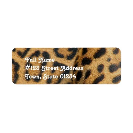 Etikett för jaguarmönsterreturadress returadress etikett