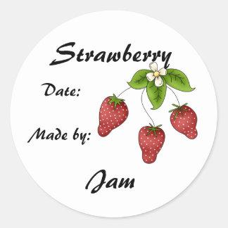 Etikett för jordgubbesyltburk (skräddarsy), runda klistermärken