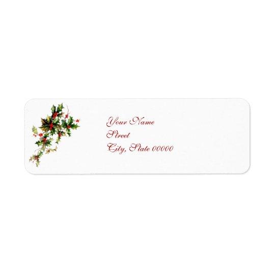 Etikett för jul för för vintagejärneklöv & bär returadress etikett