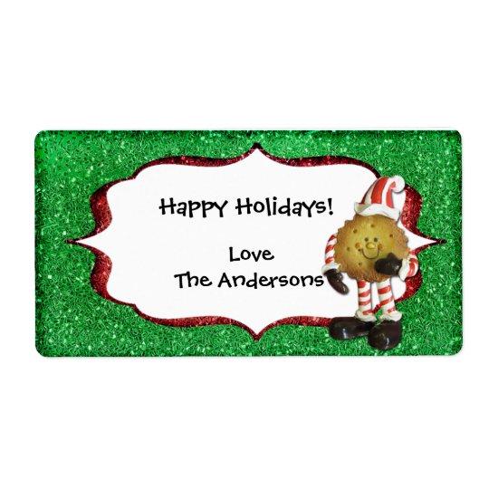 Etikett för julkakaglitter - grönt fraktsedel