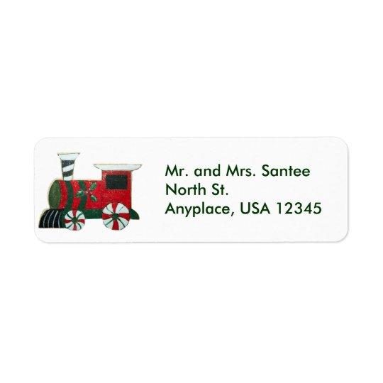 Etikett för jultågadress returadress etikett