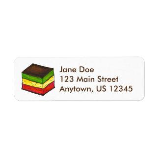 Etikett för kaka för sju italiensk regnbågejul för returadress etikett