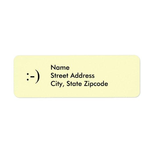 Etikett för leende~-adress returadress etikett