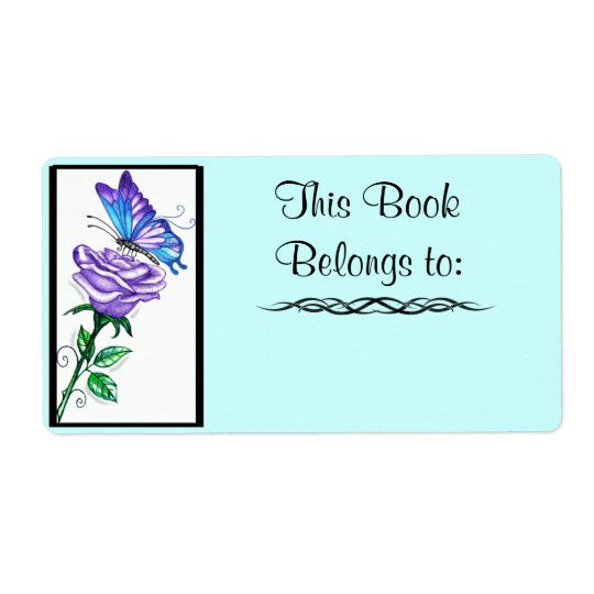 Etikett för lilaro- och fjärilsbok fraktsedel