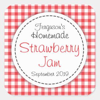 Etikett för mat för jordgubbesyltburk fyrkantigt klistermärke