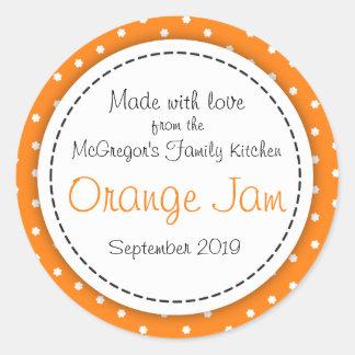 Etikett för mat för orange sylt för runda orange runt klistermärke