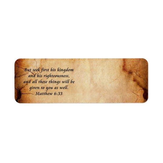 Etikett för Matthew 6:33adress Returadress Etikett