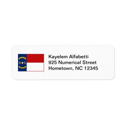 Etikett för North Carolina flaggareturadress Returadress Etikett