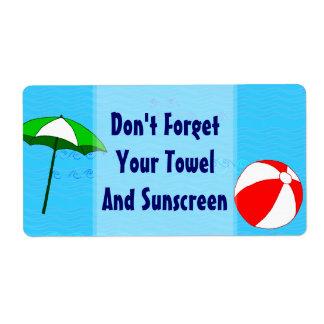 Etikett för paraply för strandbollbassäng stor fraktsedel