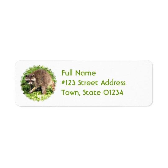 Etikett för Raccoonreturadressbrevskickande Returadress Etikett