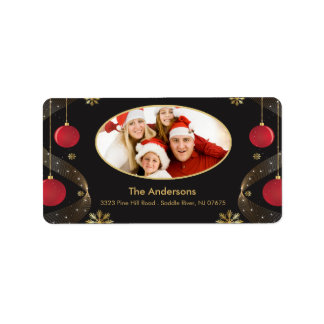 Etikett för returadress för julramFOTO Adressetikett