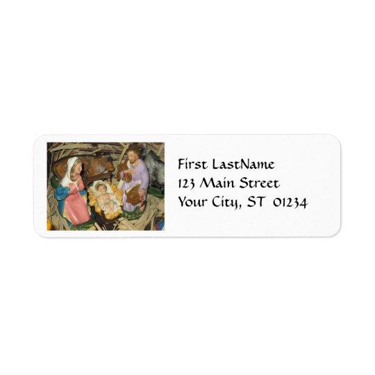 Etikett för returadress för julvintageNativity Returadress Etikett