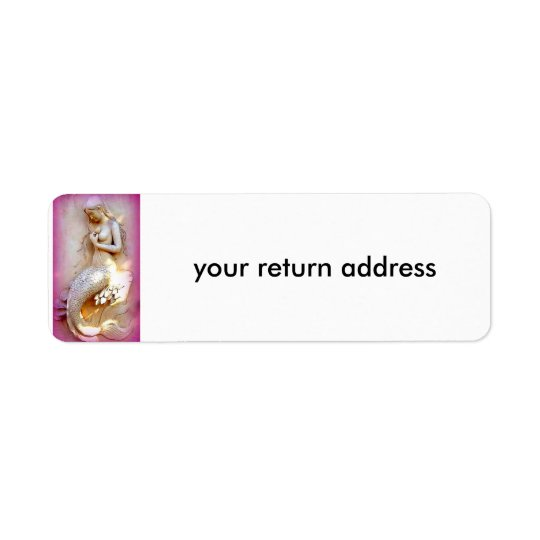 etikett för returadress för sittasjöjungfru rosa returadress etikett